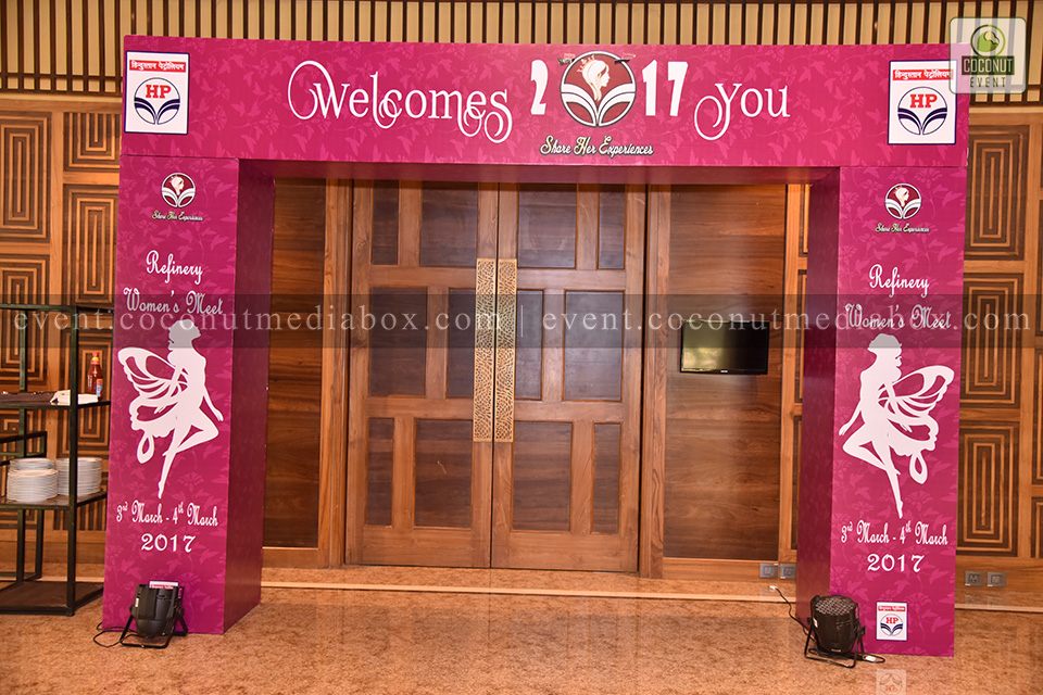 Coconut event managing an event for HPCL's Mumbai Refinery 2017 and this is the entrance for the most auspicious event to celebrate Women's Day