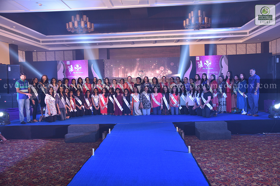 Coconut event managing an event for HPCL's Mumbai Refinery 2017 Women's Day Celebration with all the women on stage posing for a group picture to raise awareness on gender equality